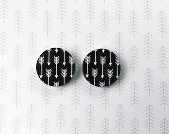 Black and white arrow wooden handmade hypoallergenic stud earrings gift wood