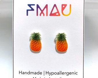 Pineapple handmade hypoallergenic stud earrings  gift fruit food