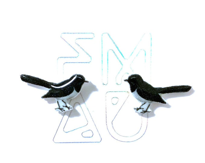 Willy wagtail bird stud earrings handmade hypoallergenic free shipping gift australian