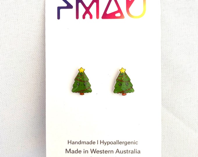 Christmas tree earrings stud handmade hypoallergenic free shipping gift cute xmas