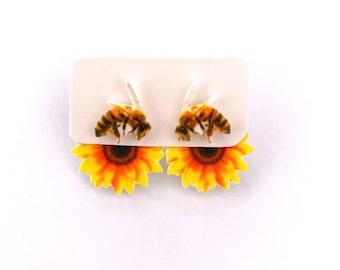 Bee Sunflower 3-way handmade hypoallergenic stud earrings  gift