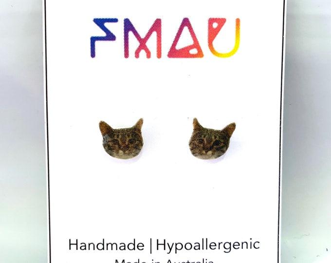 Cat head handmade hypoallergenic std earrings kitty girl cat lady accessories gift custom  free shipping international