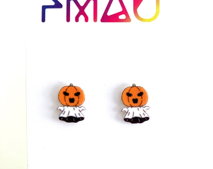 Cute spooky pumpkin head ghosts Halloween handmade stud earrings hypoallergenic jack-o'-lantern girl gift