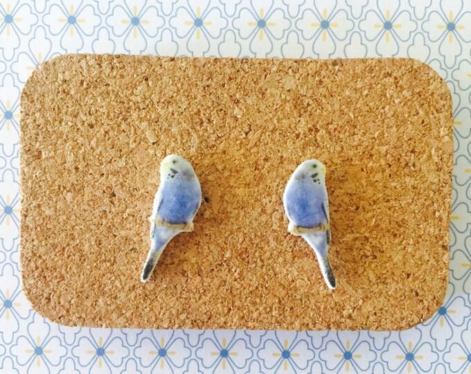 Blue budgie handmade hypoallergenic  stud earrings girl gift for her free shipping budgerigar pet parakeet bird