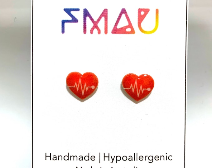 Medical love heart handmade hypoallergenic stud earrings   gift doctor nurse