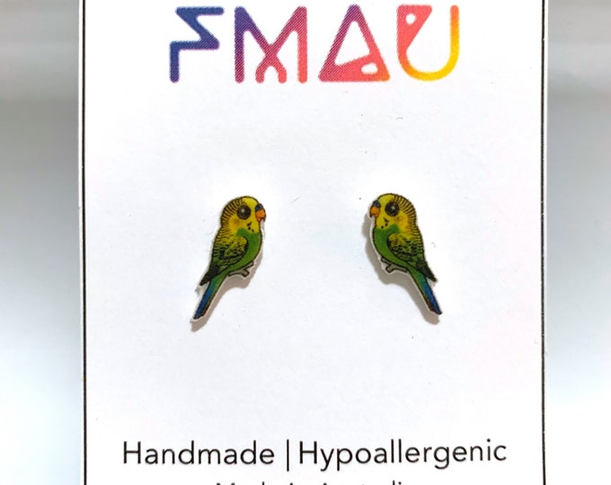 Cute Budgerigar handmade hypoallergenic stud earrings  gift bird budgie