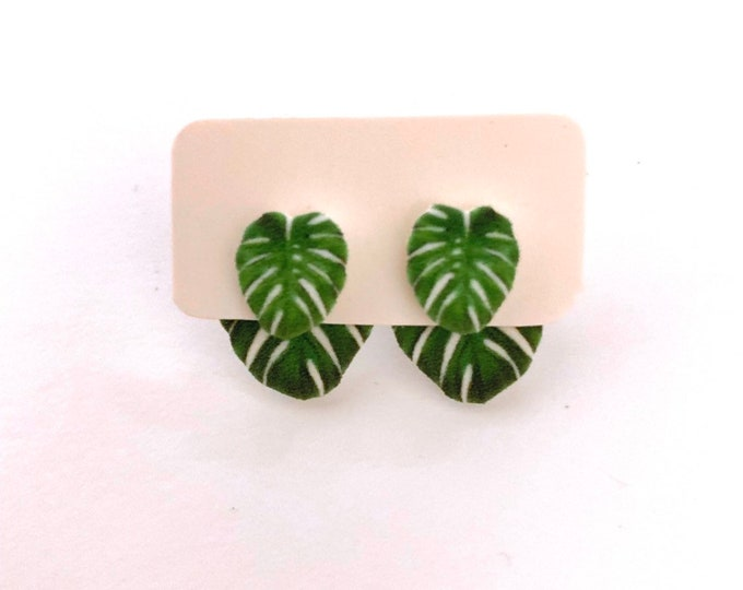 Monstera Deliciosa Tropical Leaf 3-way handmade hypoallergenic stud earrings  gift