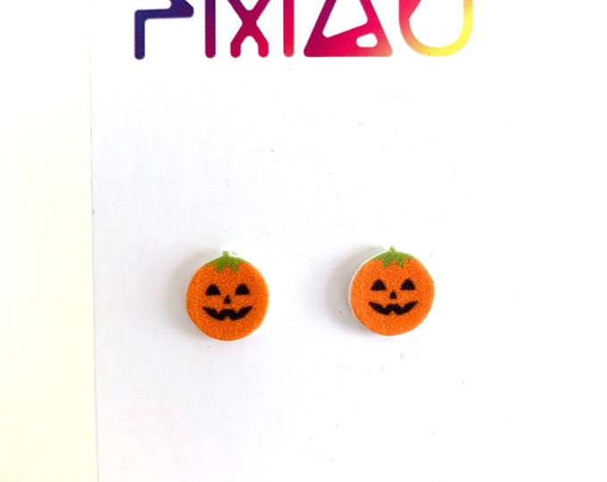 Cute jack-o'-lantern pumpkin head handmade stud earrings hypoallergenic girl gift Halloween spooky
