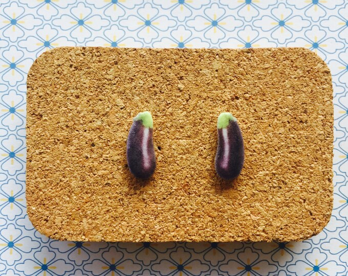Egg plant aubergine handmade hypoallergenic stud earrings girl gift vegetarian vege veggie food vegan  free shipping international