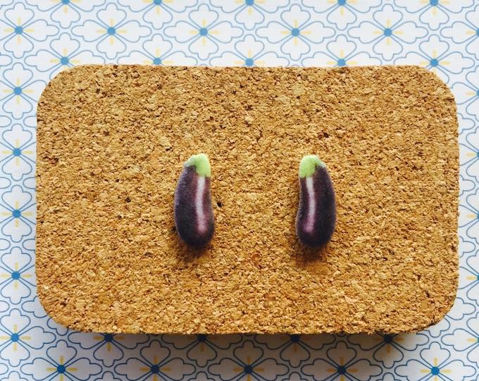 Egg plant aubergine handmade hypoallergenic stud earrings girl gift vegetarian vege veggie food vegan   international