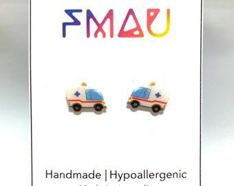 Ambulance handmade hypoallergenic stud earrings  gift paramedic