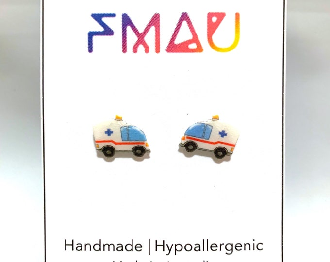 Ambulance handmade hypoallergenic stud earrings free shipping gift paramedic