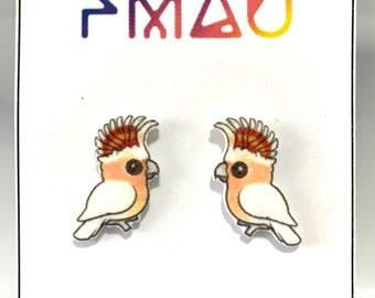 Pink Cockatoo stud earrings handmade hypoallergenic  gift Australian birds