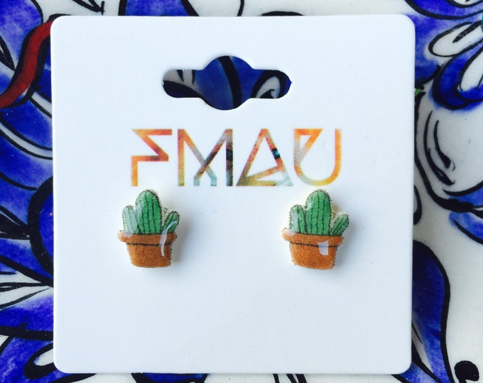 Cactus handmade earrings hypoallergenic studs jewelry jewellery gift idea girl cute fun