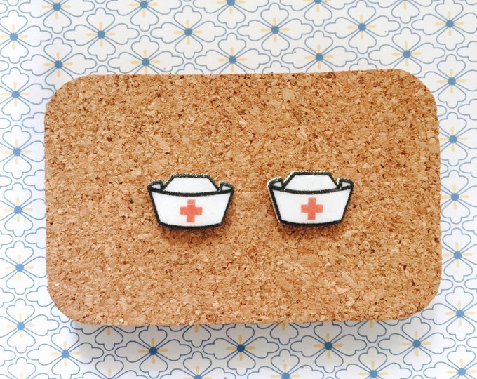 Nurse hat handmade hypoallergenic stud earrings health gift idea  free shipping international
