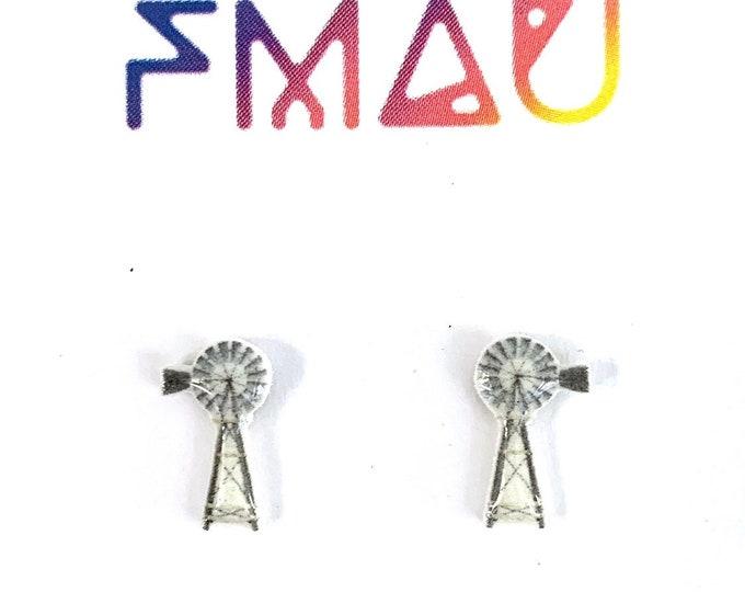 Australian outback windmill handmade stud earrings free shipping hypoallergenic gift australia