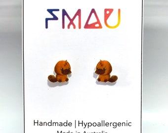 Cute platypus handmade hypoallergenic stud earrings free shipping gift australian