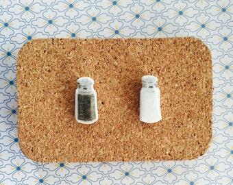Salt and pepper shakers handmade hypoallergenic stud earrings girl gift idea cute  free shipping international
