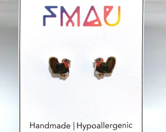 Wild Turkey small handmade hypoallergenic stud earrings free shipping gift bird animal