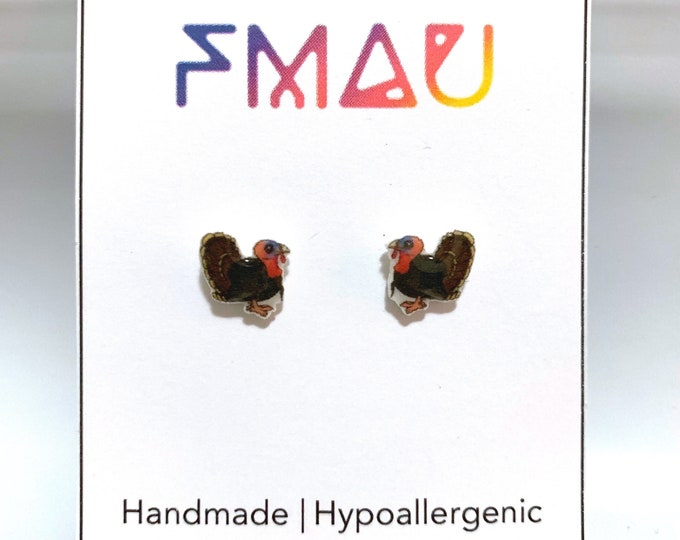 Wild Turkey small handmade hypoallergenic stud earrings  gift bird animal