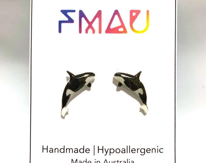Killer whale handmade earrings animal ocean sea life marine jewelry jewellery gift idea girl cute fun
