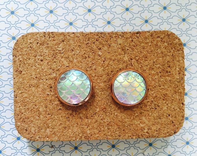 White rainbow mermaid scale handmade earrings girl gift idea fish marble shine