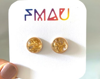 Dome resin gold flake handmade stud earrings free shipping gift