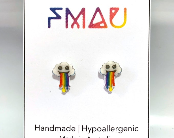 Cute cloud vomiting rainbow handmade hypoallergenic stud earrings   vomit