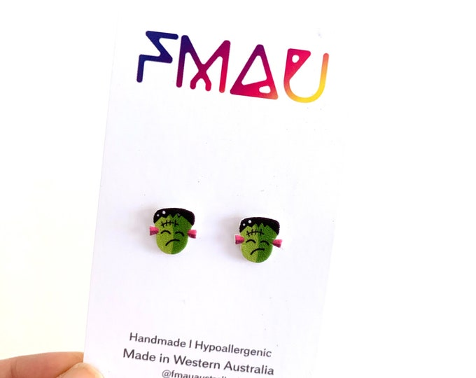 Spooky Frankenstein Halloween handmade stud earrings hypoallergenic girl gift