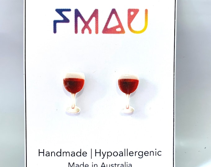 Red wine glass handmade hypoallergenic stud earrings gift idea girl mini food drink french