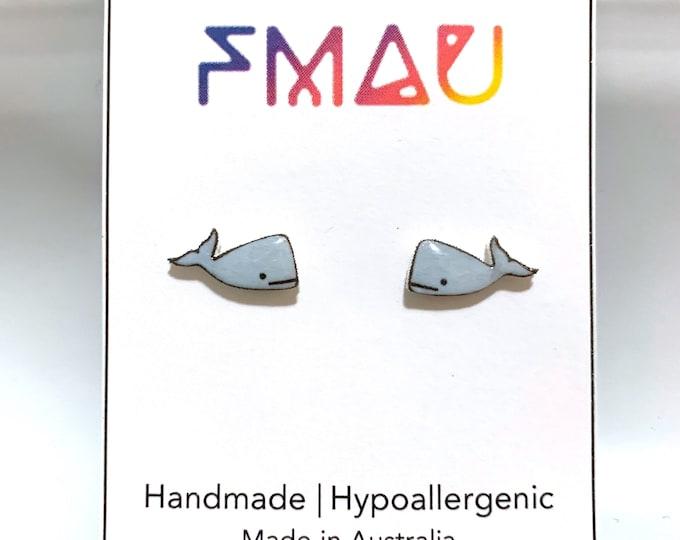 Whale handmade hypoallergenic stud earrings gift  free shipping international marine sea ocean