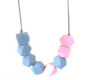 Pink and Grey Galah  necklace   feeding silicone BPA free gift  gift