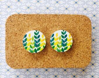 Green leaves wooden handmade hypoallergenic stud earrings girl gift