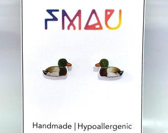 Mallard Duck handmade hypoallergenic stud earrings  bird gift
