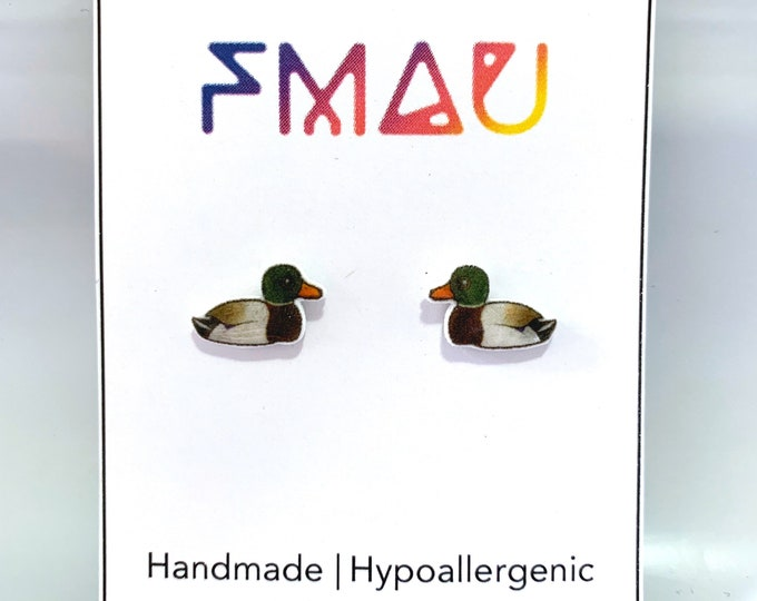 Mallard Duck handmade hypoallergenic stud earrings free shipping bird gift