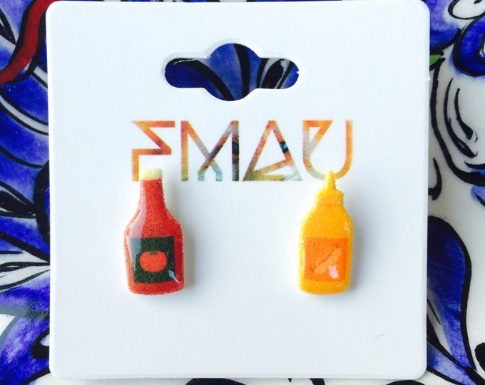 Ketchup & mustard handmade earrings jewelry jewellery gift idea girl cute fun