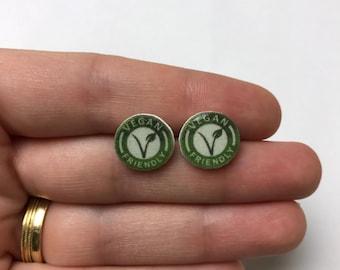 Vegan friendly handmade hypoallergenic stud earrings girl gift