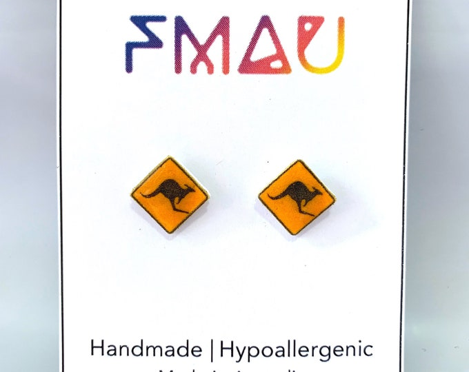 Road sign kangaroo handmade hypoallergenic earrings jewelry jewellery gift idea girl cute fun australia travel trip holiday australian