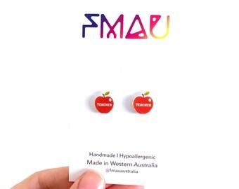 Teacher apple handmade hypoallergenic stud earrings girl gift