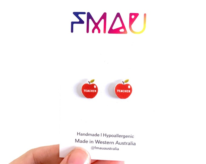 Teacher apple handmade hypoallergenic stud earrings girl gift