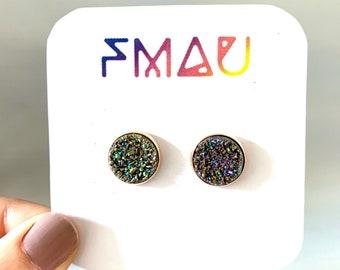 Brown rainbow druzy handmade stud earrings gift free shipping