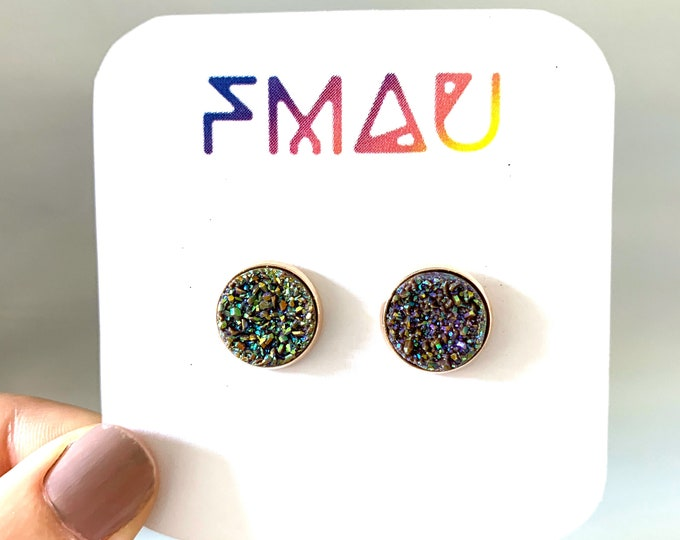 Brown rainbow druzy handmade stud earrings gift free shipping