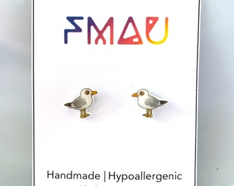 Seagull handmade hypoallergenic stud earrings free shipping bird gift