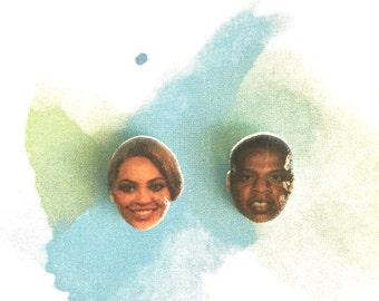 Beyonce jay z handmade hypoallergenic stud earrings girl gift celebrity head face free shipping couple mismatch
