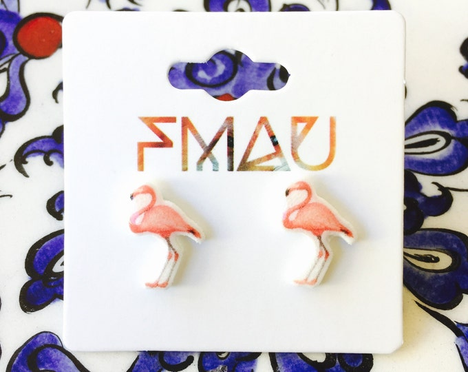 Flamingo handmade hypoallergenic stud earrings mini animal jewelry jewellery gift idea girl cute fun bird