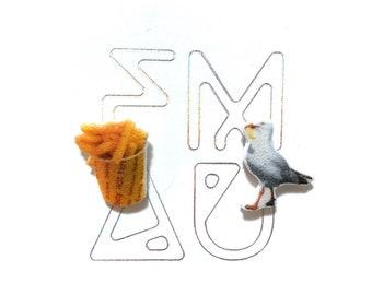 Seagull and hot chips stud earrings handmade australia hypoallergenic  australian gift funny