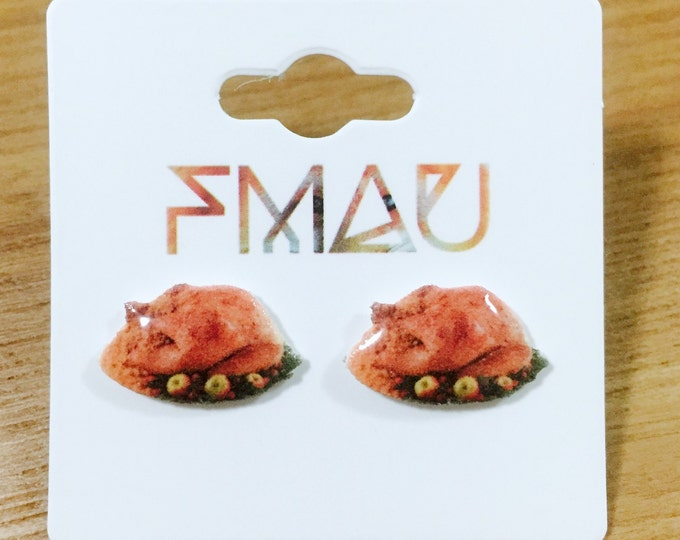 Thanksgiving roast turkey handmade hypoallergenic food earrings jewelry jewellery gift idea girl cute fun mini dinner family