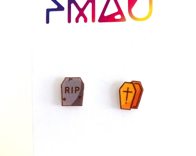 RIP coffin Halloween handmade hypoallergenic stud earrings girl gift spooky zombie tombstone