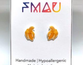 Banana handmade hypoallergenic stud earrings  gift fruit food