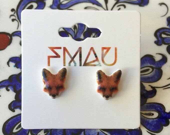 Fox head handmade hypoallergenic stud earrings jewelry jewellery gift idea girl cute fun mini animal forest
